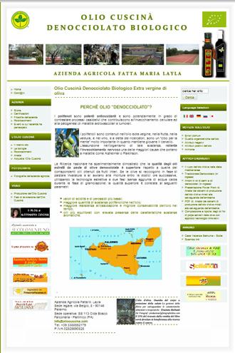 Il sito dell'olio Cuscinà prodotto dall'Azienda Agricola Fatta Maria Layla di Partinico (PA)